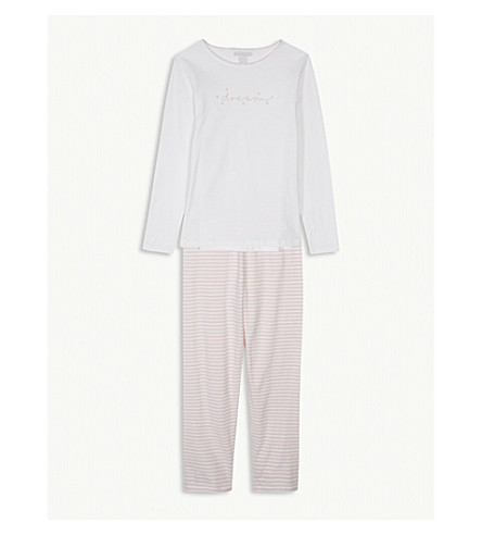 THE LITTLE WHITE COMPANY Dream embroidered cotton pyjamas 7-12 years (White