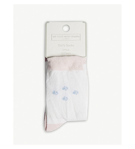 THE LITTLE WHITE COMPANY Dog print cotton-blend socks 1-6 years (Multi