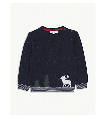 THE LITTLE WHITE COMPANY Reindeer scene cotton jumper 1-6 years (Navy
