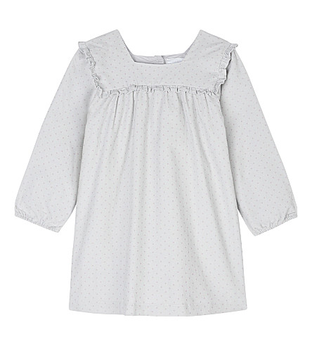 THE LITTLE WHITE COMPANY Spotted corded cotton dress 0-24 months (Grey