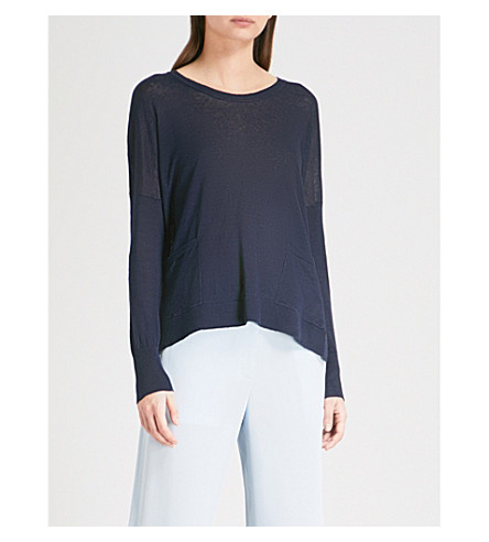THE WHITE COMPANY Loose-fit linen jumper (Navy