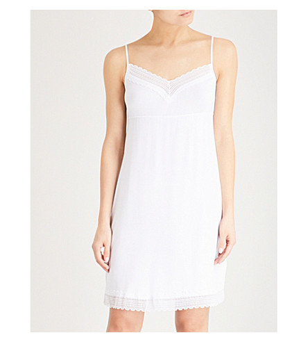 THE WHITE COMPANY Dotted lace-trim jersey nightdress (White/blue