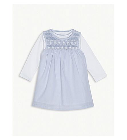 THE LITTLE WHITE COMPANY Daisy print dress and cotton bodysuit set 0-24 months (Pale+blue