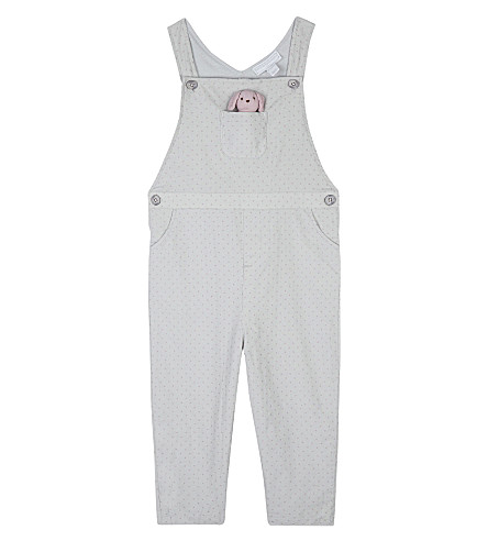 THE LITTLE WHITE COMPANY Spotted printed toy dungarees 0-24 months (Grey
