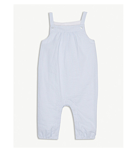THE LITTLE WHITE COMPANY Seersucker cotton dungarees 0-24 months (White/blue