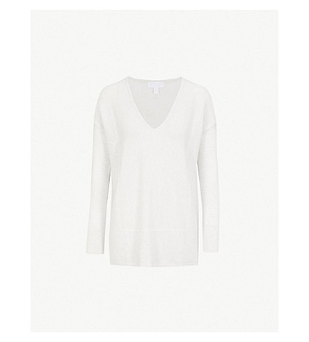 THE WHITE COMPANY V-neck cotton-blend jumper (Cloud+marl