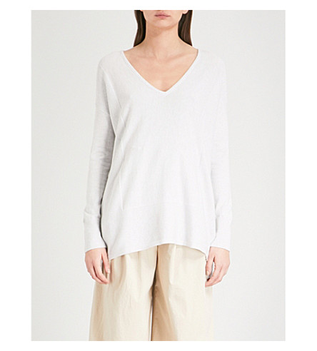 THE WHITE COMPANY V-neck cotton-blend jumper (Cloud+marl