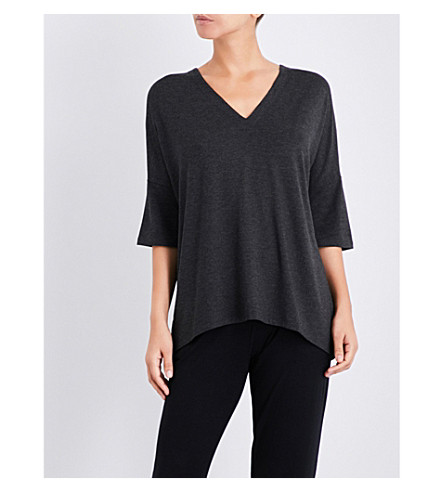 THE WHITE COMPANY V-neck jersey top (Darkcharcmarl