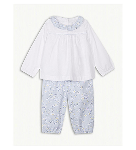 THE LITTLE WHITE COMPANY Daisy print cotton top and trousers set 0-24 months (White/paleblue