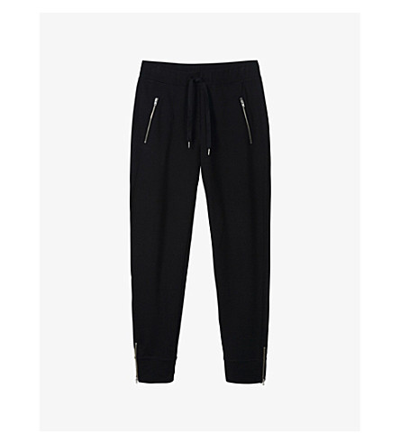 THE WHITE COMPANY Zip-detail stretch-cotton jogging bottoms (Darkcharcmarl