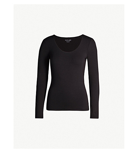 THE WHITE COMPANY Essential double-layer cotton-jersey T-shirt (Black