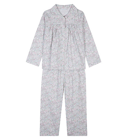 THE LITTLE WHITE COMPANY Evie floral print cotton pyjamas 1-6 years (White