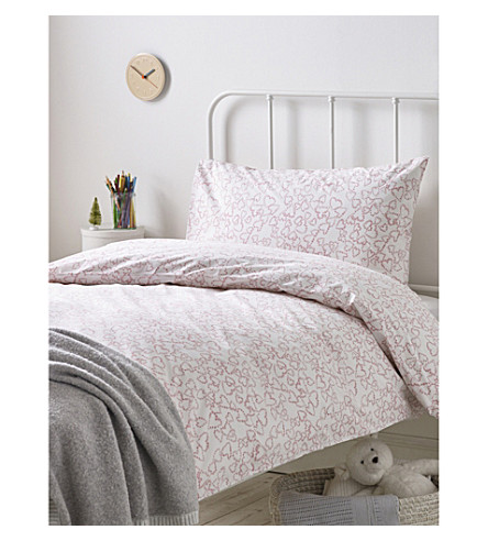 THE LITTLE WHITE COMPANY Heart wreath easy care cotton-blend single pillowcase and duvet set single (Pink