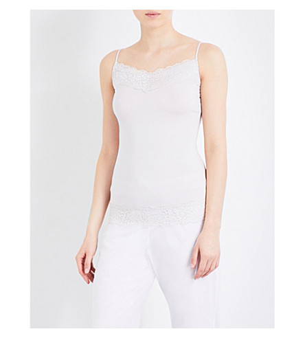 THE WHITE COMPANY Lace-trim stretch-jersey camisole (Ash+rose