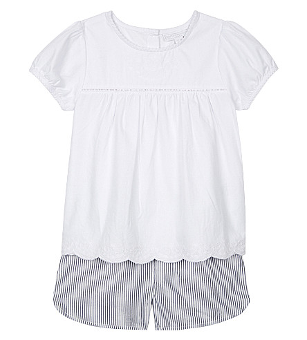 THE LITTLE WHITE COMPANY Embroidered blouse and shorts set 1-6 years (White