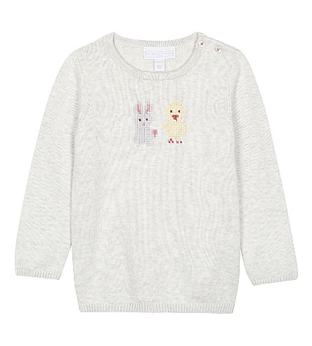 THE LITTLE WHITE COMPANY Easter embroidered cotton jumper 0-24 months (Ecru
