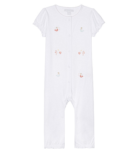 THE LITTLE WHITE COMPANY Embroidered mermaid cotton sleepsuit 0-24 months (White