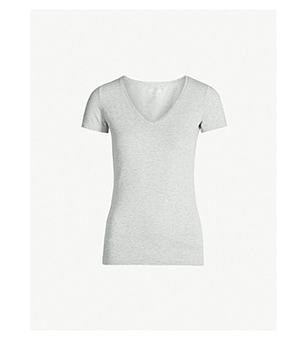 THE WHITE COMPANY Essential stretch-cotton T-shirt (Silvergreymarl