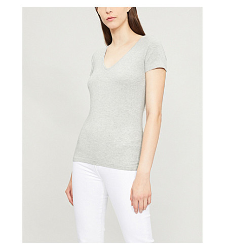 THE WHITE COMPANY Essential short sleeve T-shirt (Silvergreymarl