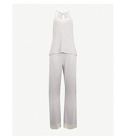 THE WHITE COMPANY Eyelash lace stretch-jersey pyjama set (Pale+grey+marl