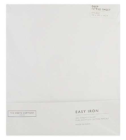 THE WHITE COMPANY Easy iron Egyptian cotton double fitted sheet (White