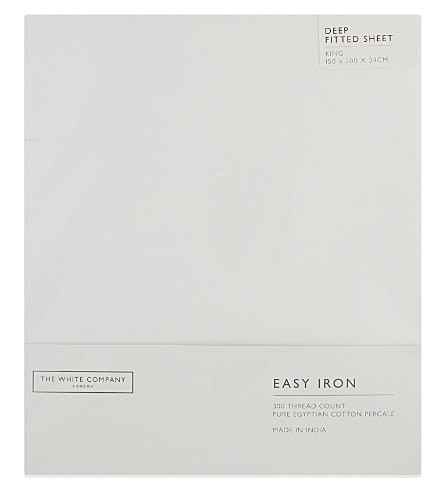 THE WHITE COMPANY Easy iron Egyptian cotton king size fitted sheet (White