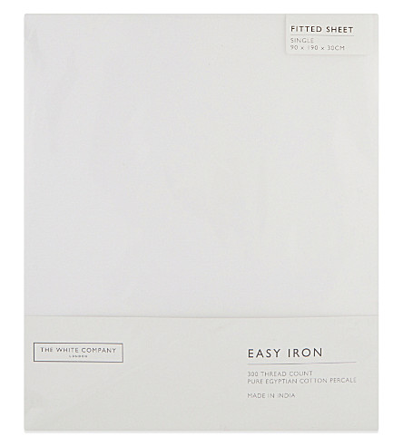 THE WHITE COMPANY Easy iron Egyptian cotton single fitted sheet (White
