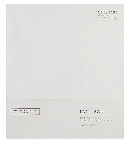 THE WHITE COMPANY Easy iron Egyptian cotton superking fitted sheet (White