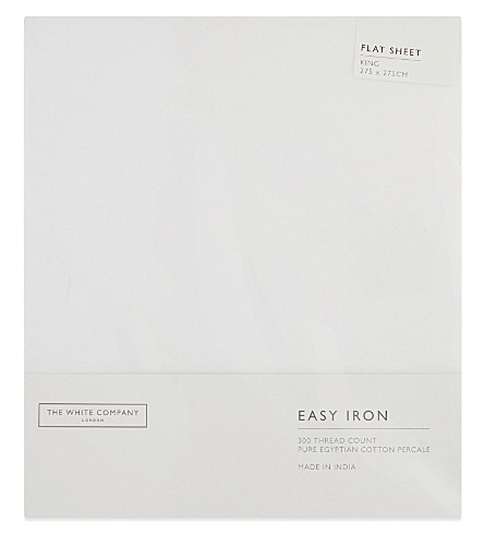 THE WHITE COMPANY Easy Iron Egyptian cotton king size flat sheet (White