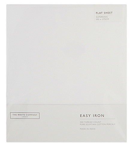 THE WHITE COMPANY Easy Iron Egyptian cotton superking flat sheet (White