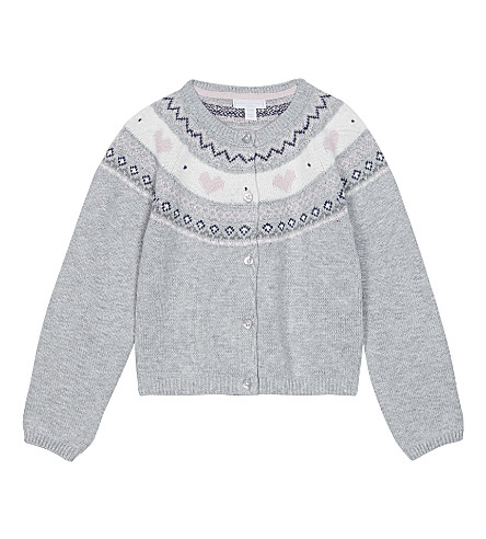 THE LITTLE WHITE COMPANY Fair Isle heart pattern cotton-wool blend cardigan 2-6 years (Ecru
