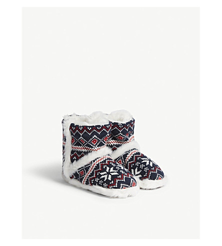 THE LITTLE WHITE COMPANY Fair Isle knitted slipper boots (Moonlight+blue