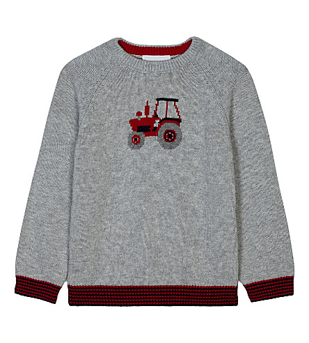 THE LITTLE WHITE COMPANY Tractor pattern cotton-wool blend jumper 1-6 years (Ecru