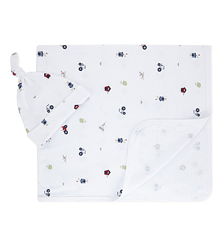 THE LITTLE WHITE COMPANY Farmyard cotton blanket and hat set newborn-24 months (Multi