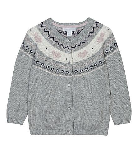 THE LITTLE WHITE COMPANY Fair Isle cotton-wool blend cardigan 0-24 months (Silvergreymarl