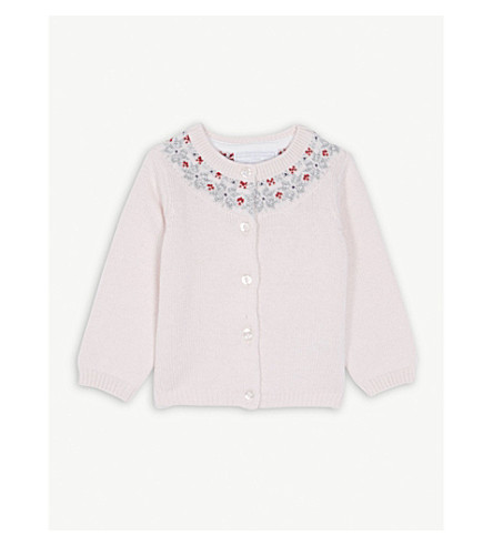 THE LITTLE WHITE COMPANY Fair Isle glitter knitted cardigan 0-24 months (Chalk+pink