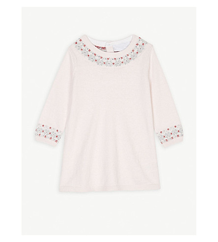THE LITTLE WHITE COMPANY Fair Isle knitted jumper dress 0-24 months (Chalk+pink