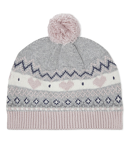 THE LITTLE WHITE COMPANY Fair Isle cotton hat 0-24 months (Silvergreymarl
