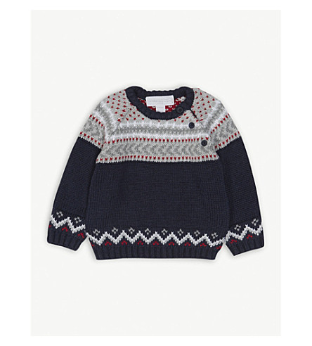 THE LITTLE WHITE COMPANY Fair Isle cotton jumper 0-24 months (Navy