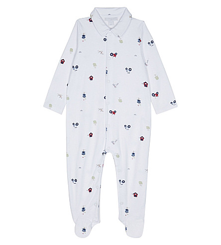 THE LITTLE WHITE COMPANY Farmyard adventure print cotton baby-grow 0-18 months (Multi