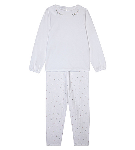 THE LITTLE WHITE COMPANY Floral embroidered pyjamas 7-12 years (White