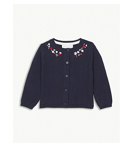 THE LITTLE WHITE COMPANY Floral embroidered cotton cardigan 0-24 months (Mood+indigo