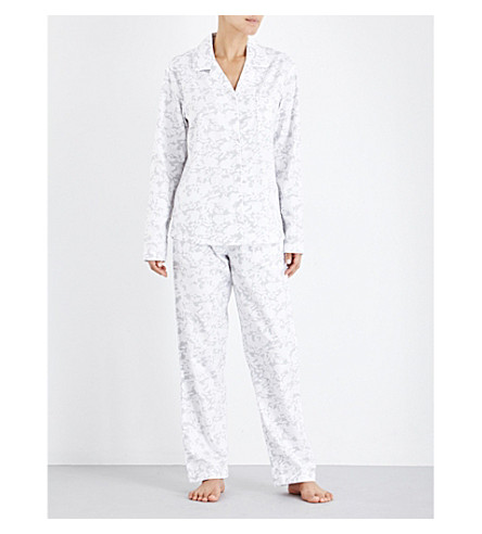 THE WHITE COMPANY Floral-print cotton-flannel pyjama set (Grey