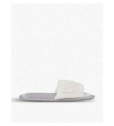 THE WHITE COMPANY Faux-fur and satin slipper sliders (Shell