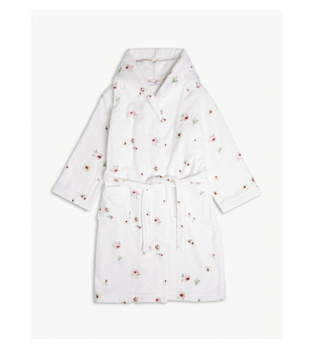 THE LITTLE WHITE COMPANY Freya floral print hooded robe 7-12 years (Multi