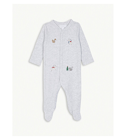 THE LITTLE WHITE COMPANY Forest friends embroidered cotton sleepsuit 0-24 months (Grey+marl