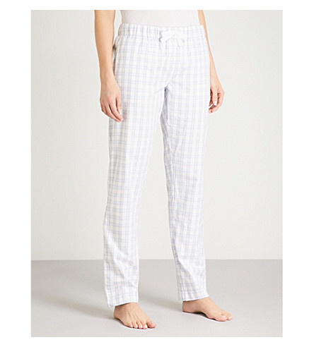 THE WHITE COMPANY Gingham cotton-flannel pyjama bottoms (Pale+grey
