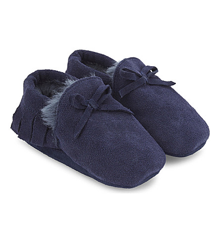 THE LITTLE WHITE COMPANY Fringed suede pram shoes Newborn-12 months (Navy