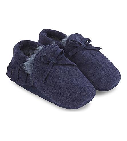 THE LITTLE WHITE COMPANY 流苏绒面革婴儿车鞋履 Newborn-12 月 (海军