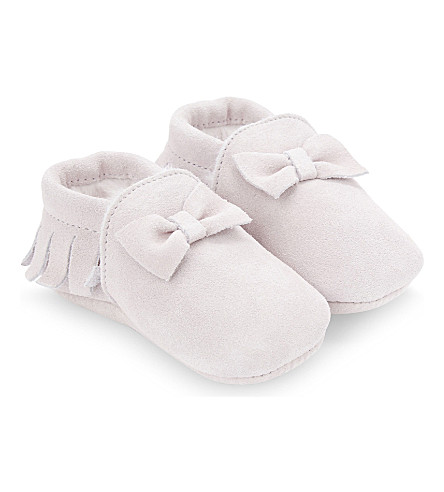 THE LITTLE WHITE COMPANY Fringed suede pram shoes newborn-12 months (Pale+pink